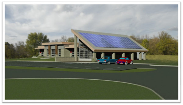 View from east showing proposed Solar Panels – Open area beneath panels will display Educational Signage describing LEED Gold Certified Building Components and Stormwater/Wetland Interpretation