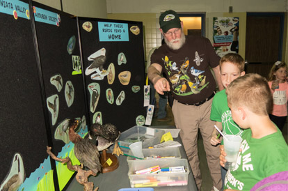 JVAS has educational activities for young and old alike, such as this interactive display on wetland birds for the Juniata Valley Elementary School's Science Festival last May.